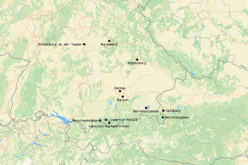 Map of day trips from Munich