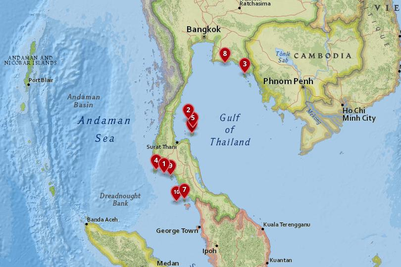 Map of the best Thai Islands