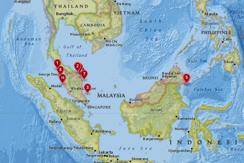 Map of the best islands in Malaysia
