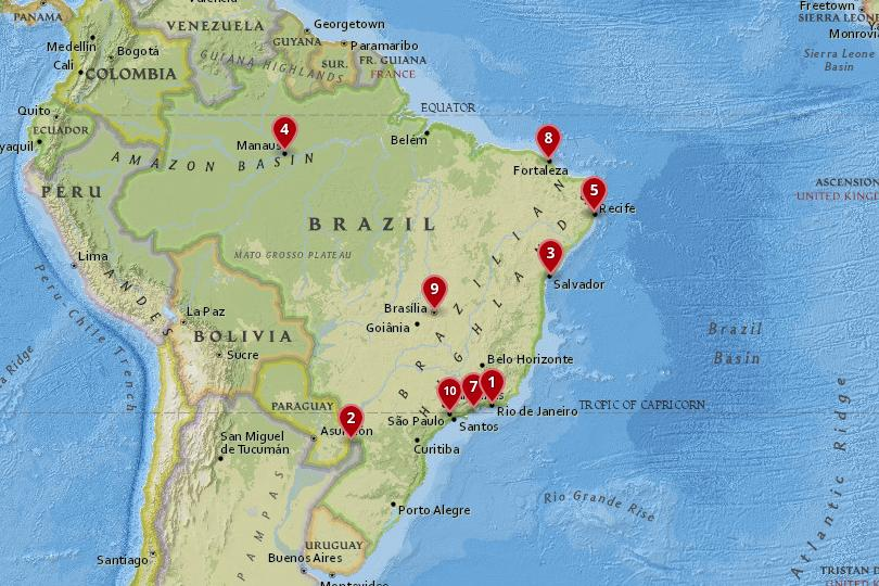 10 Best Places to Visit in zil (with Photos & Map) - Touropia Map Of Brzil on map of africa, map of eurpe, map of europe, map of brazil, map of greece,