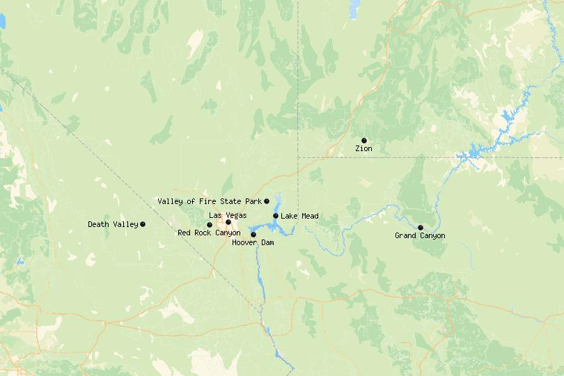 Map of day trips from Las Vegas