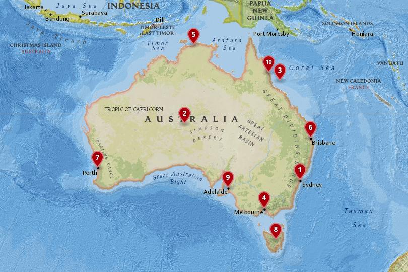 Major Cities In Australia Map.10 Best Places To Visit In Australia With Photos Map Touropia