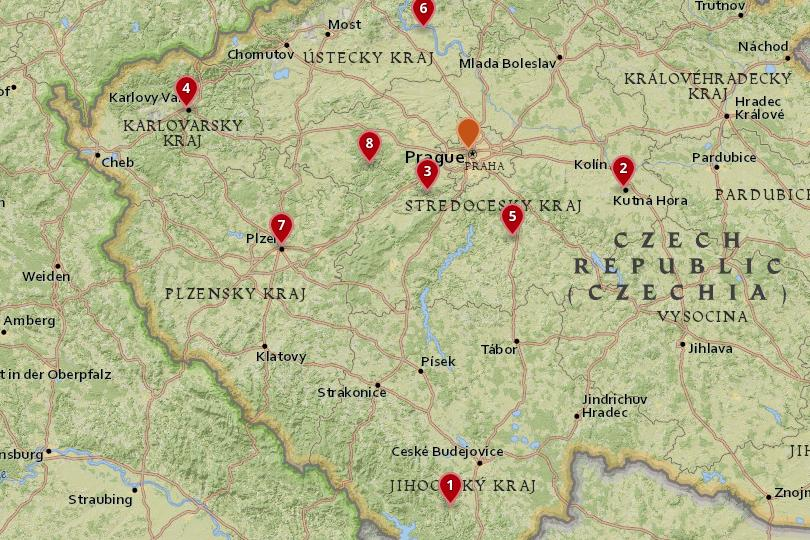 Day trips from Prague map