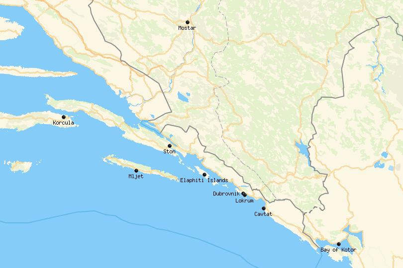Map of day trips from Dubrovnik