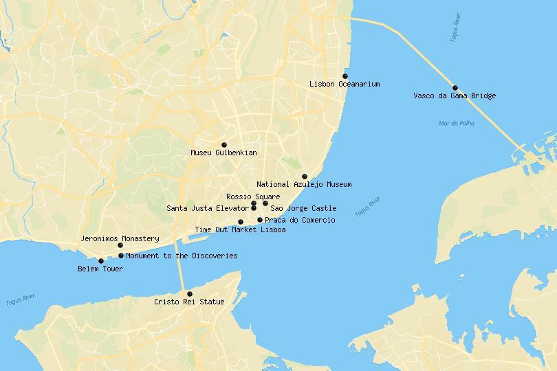 lisbon attractions map