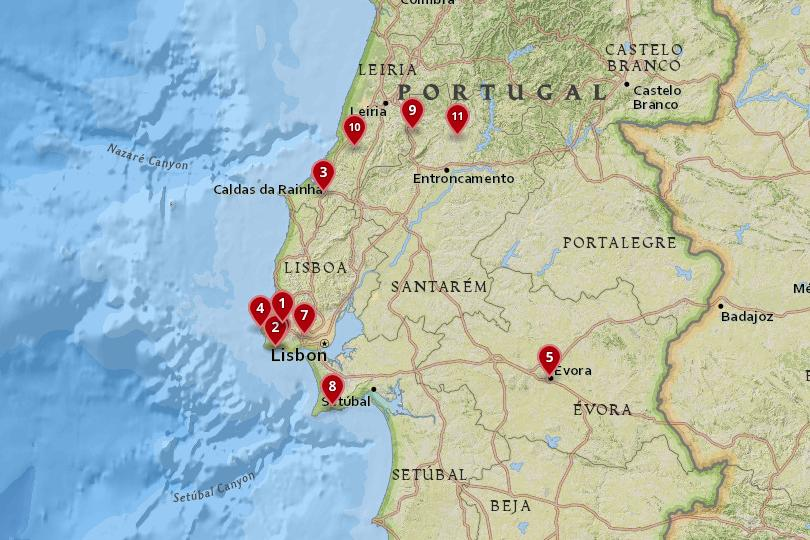 day trips from Lisbon map