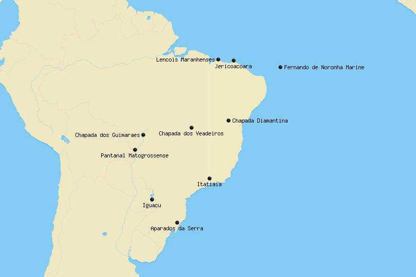 Map of National Parks in Brazil