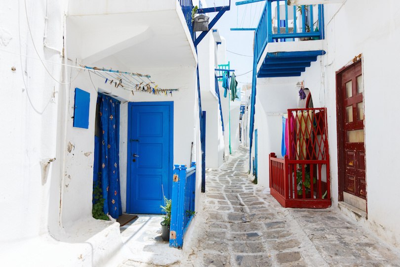 Traditional street of Mykonos island