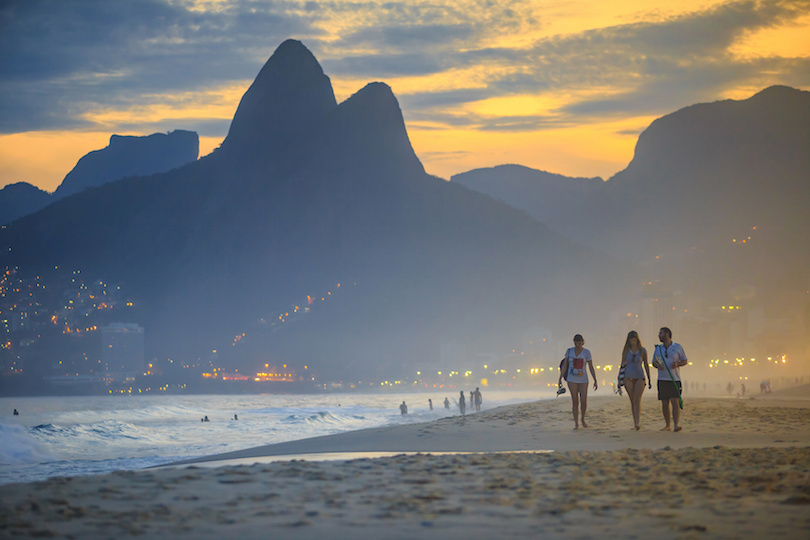 View of Ipanema Beach in the evening, Rio