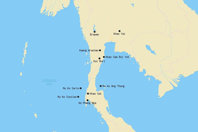 Map of National Parks in Thailand