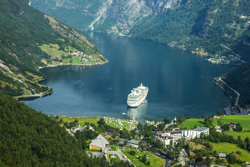 Cruise ship in Geirangerfjord, Norway