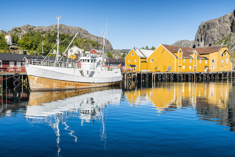 Fishing boat moored in the fishing port, Nusfjorden, Lofoten