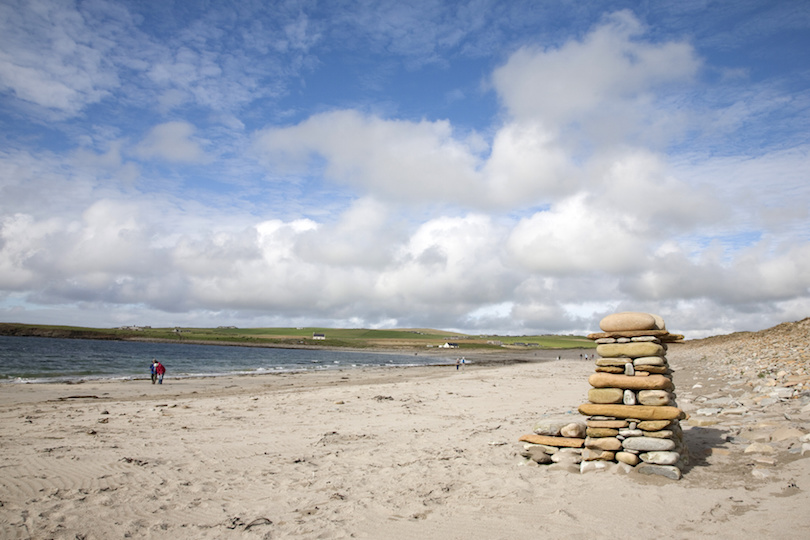 Bay of Skaill Beach next to Skara Brae Stone Age Site in Orkney, Scotland