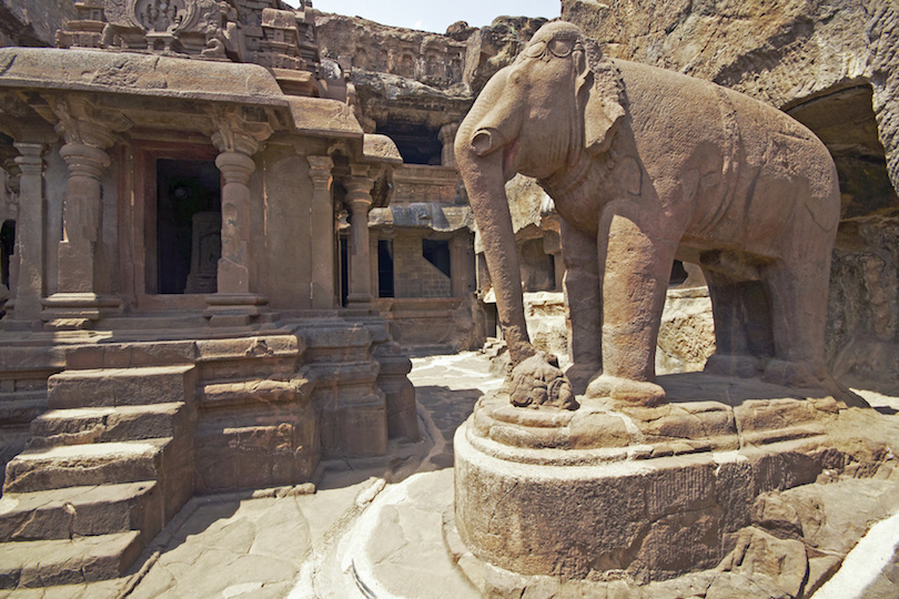 Elephant Statue at Ancient Jain Rock Temple at Ellora