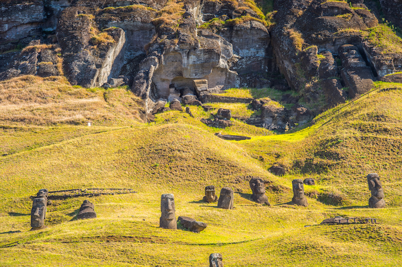 Moai on the Easter Island in Chile