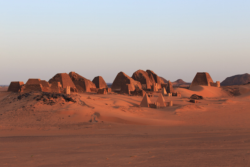 Meroe pyramids at sunrise
