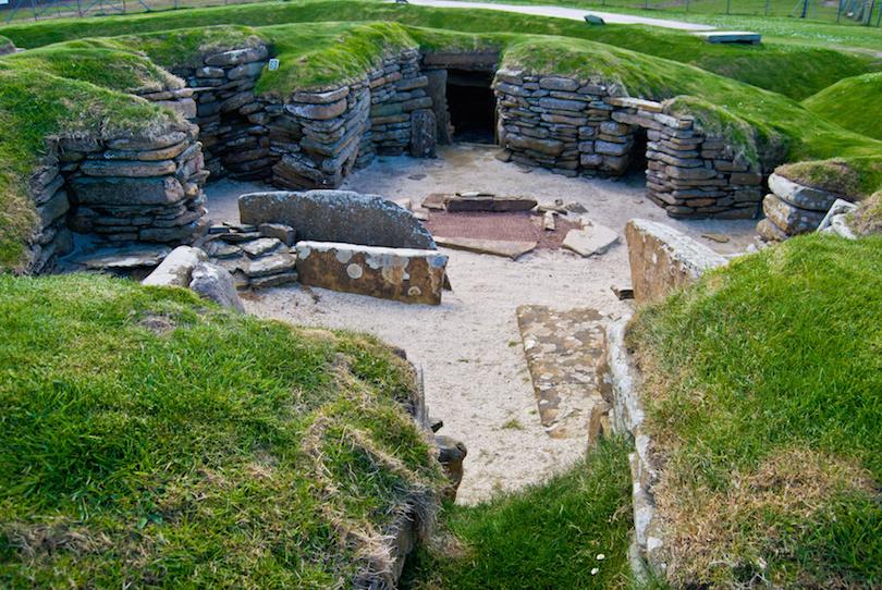 在奥克尼,苏格兰的石器时代村庄Skara Brae