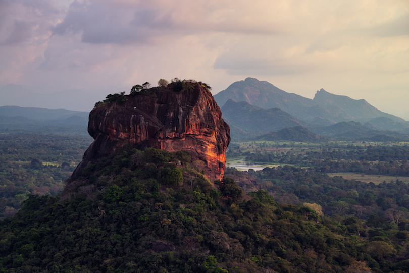 Sunset over the Lion Rock in Sigiriya, Sri Lanka