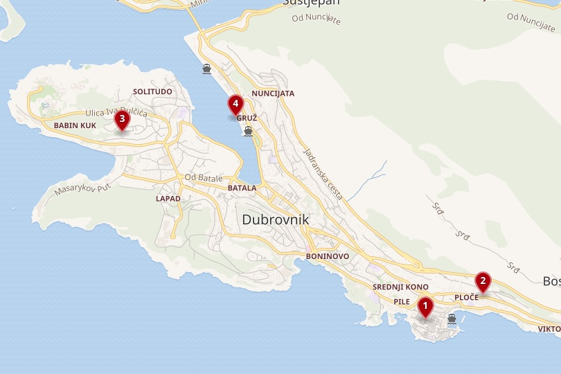 Dubrovnik area map