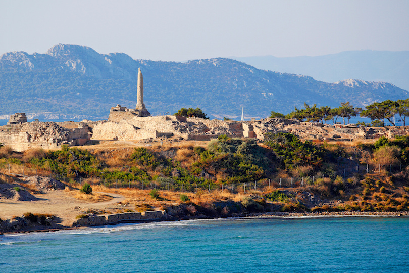 The Temple of Apollo at the top of Kolona in Aegina island, Greece