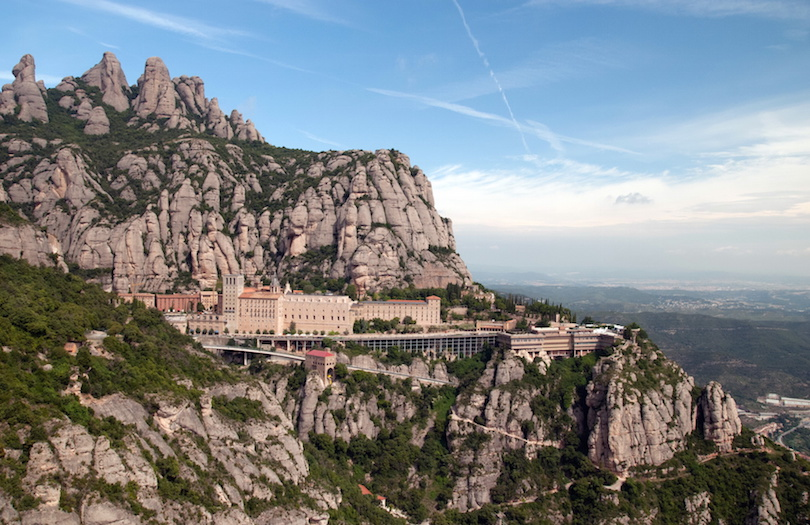 Panoramic view of Montserrat Abbey. Spain
