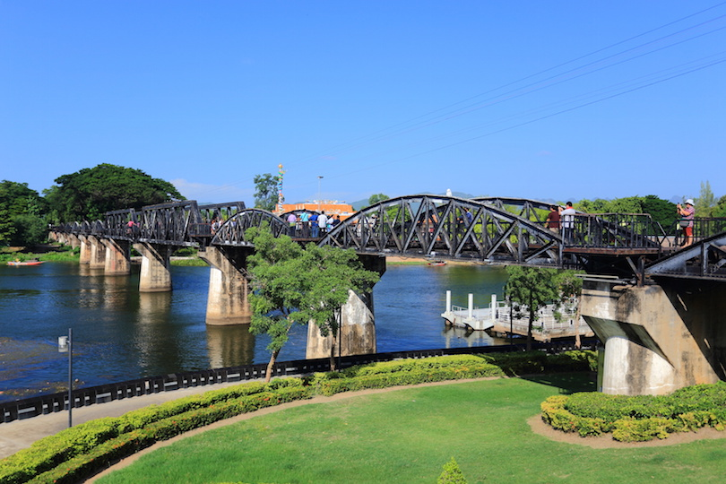 Historic bridge on river kwai in Kanchanaburi at Thailand