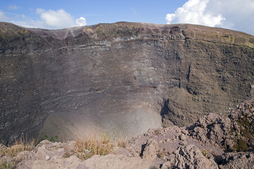 Vesuvius volcano crater in the Gulf of Naples, Italy