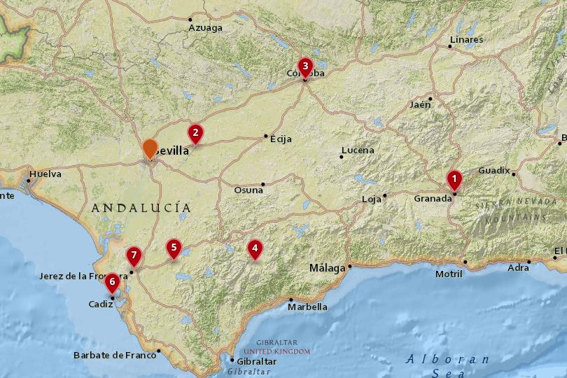 Map of day trips from Seville
