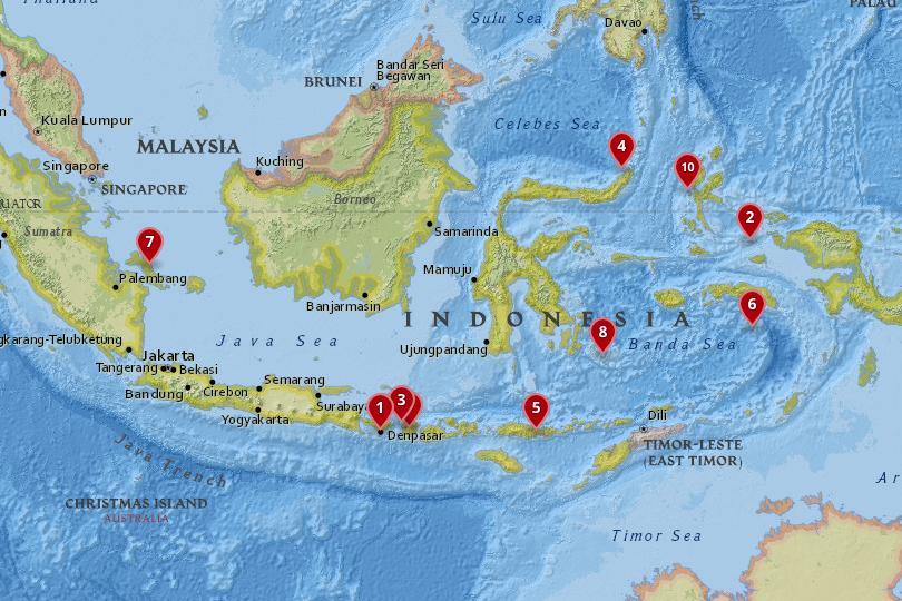 Map of the best islands in Indonesia