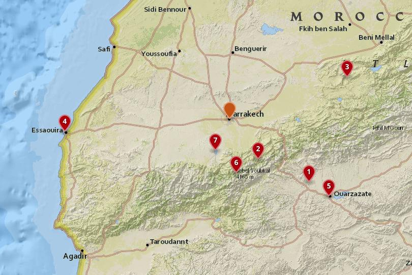 Map of day trips from Marrakesh