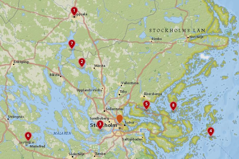 Map of day trips from Stockholm
