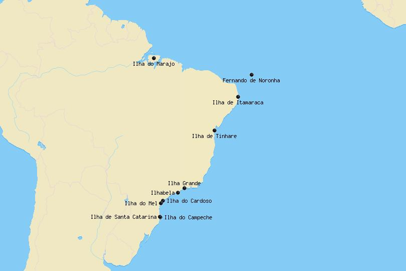 Map of the most beautiful islands in Brazil