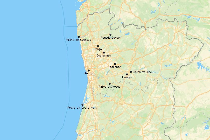 Map of Northern Portugal