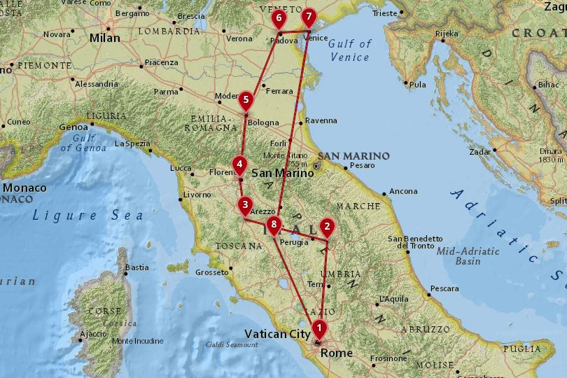 5 days in Italy Map