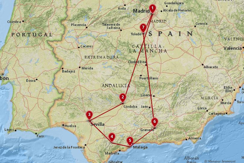 5 days in Spain Map