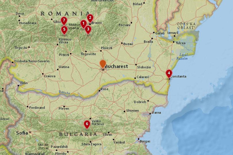 Map of day trips from Bucharest