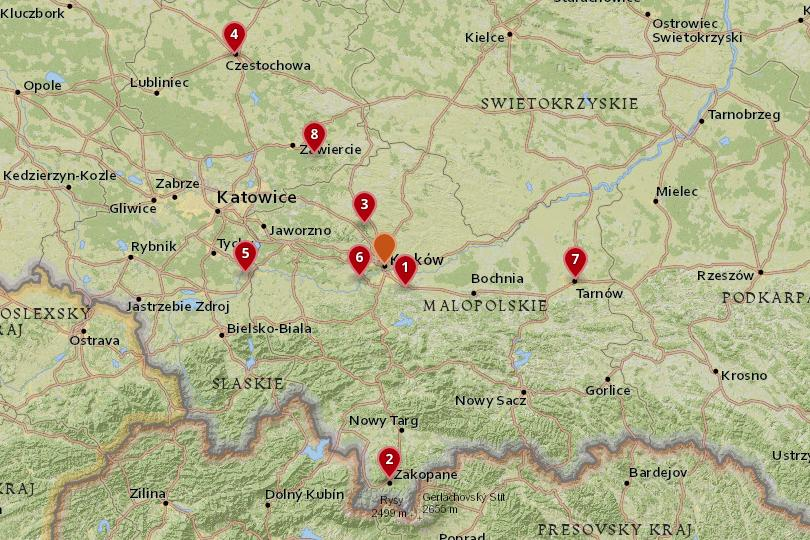 Map of day trips from Krakow