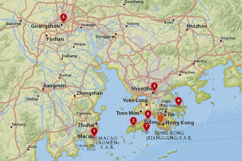Map of day trips from Hong Kong