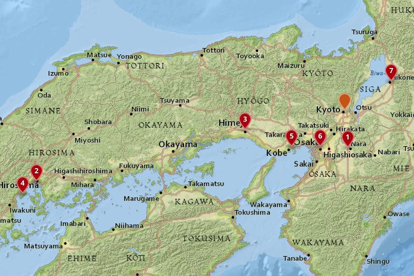 Map of day trips from Kyoto