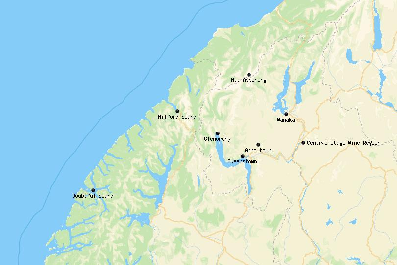 Map of day trips from Queenstown
