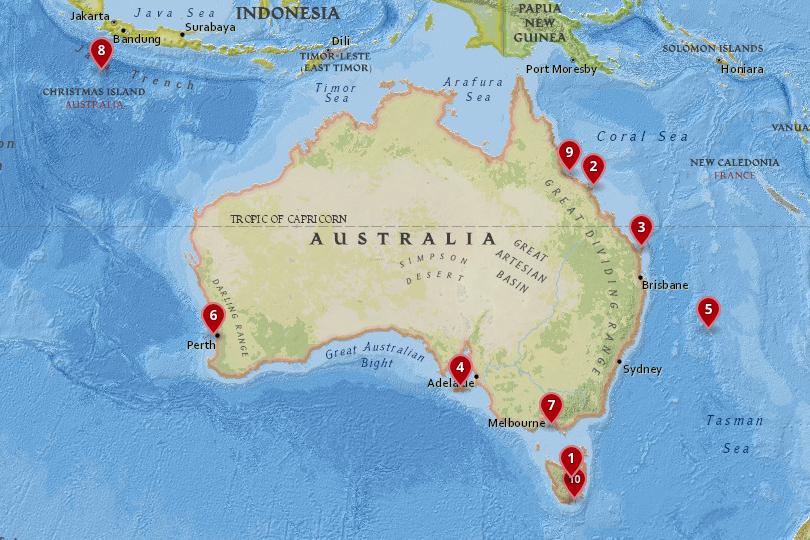 Map of the best Australian islands