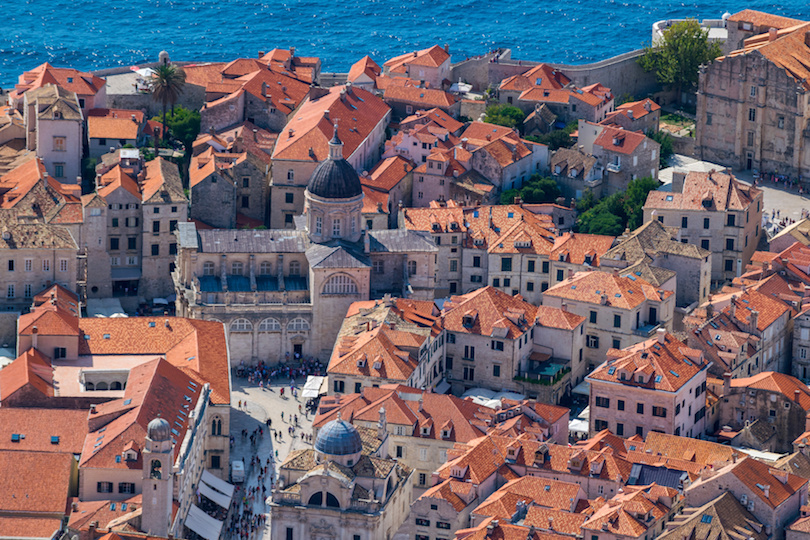Aerial view of the medieval city of Dubrovnik, Dalmatia, Croatia, Adriatic Sea, Europe