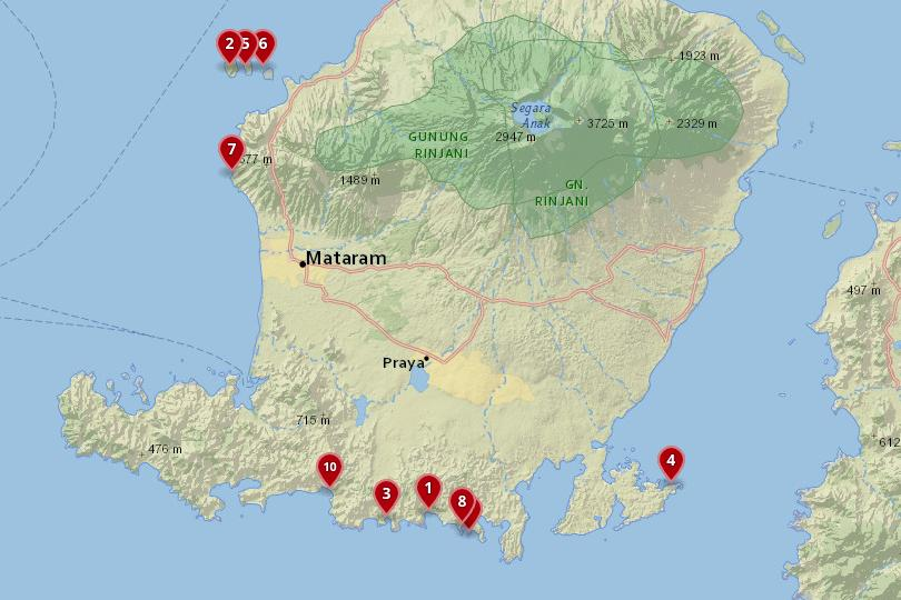 Map of the best beaches in Lombok