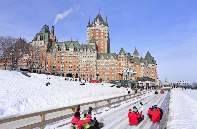 Quebec City in winter, traditional slide descent, eastern Canada