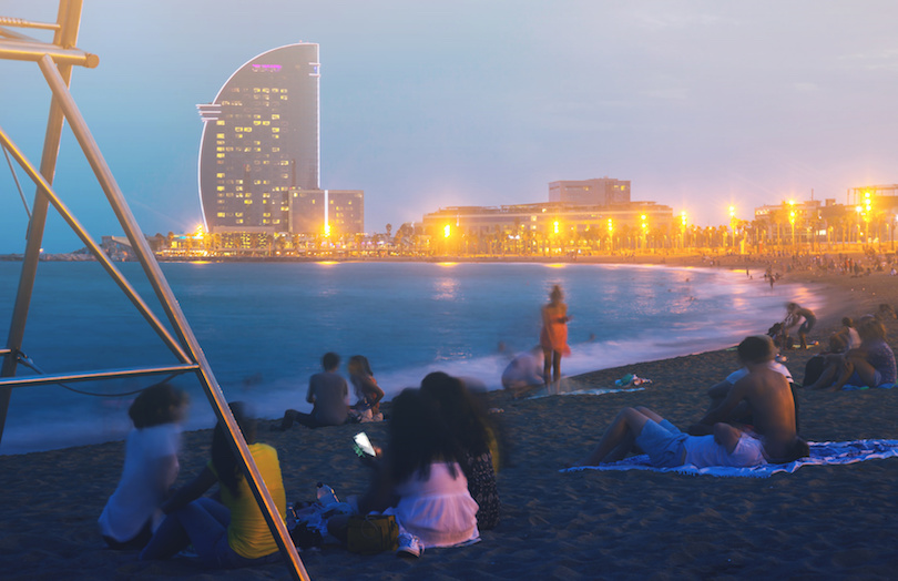 Barceloneta beach at night