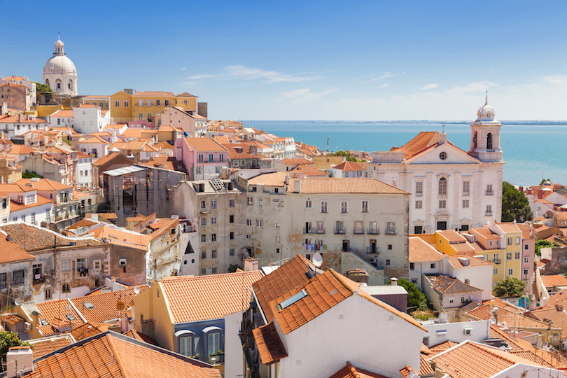Panoramic of Alfama rooftops, Lisboa, Portugal