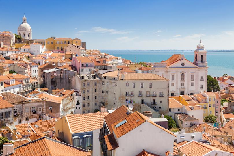 Panoramic of Alfama rooftops, Lisboa, Portugal