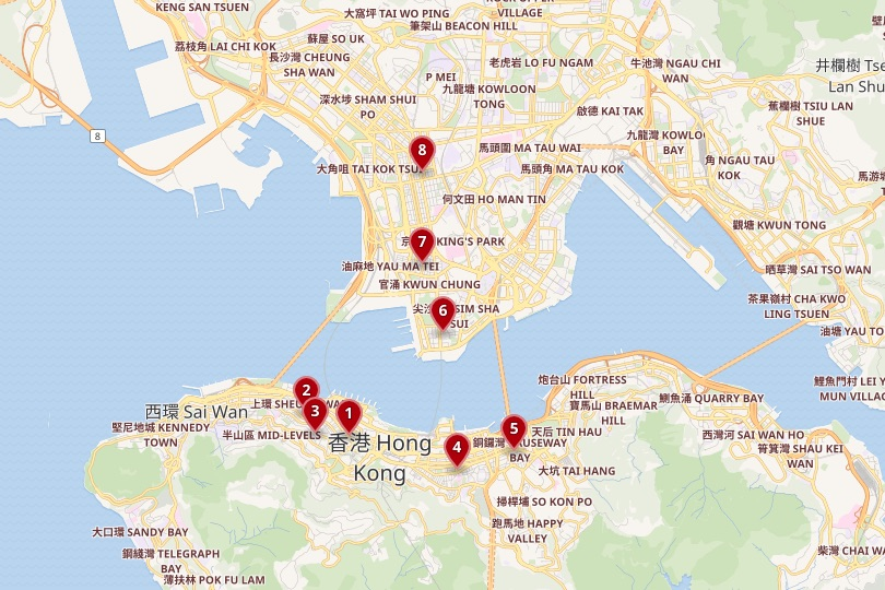 Hong Kong area map