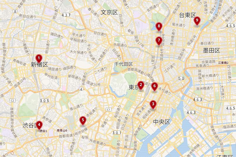 Map of Tokyo's top neighborhoods