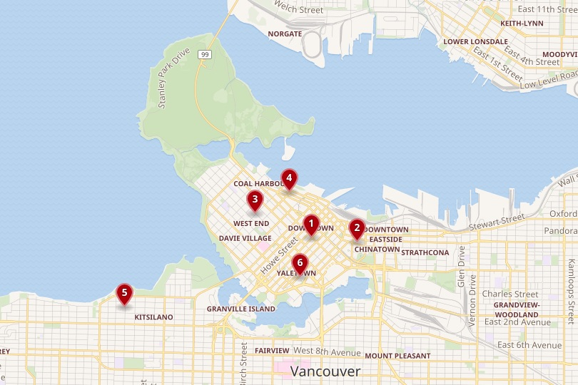Vancouver area map